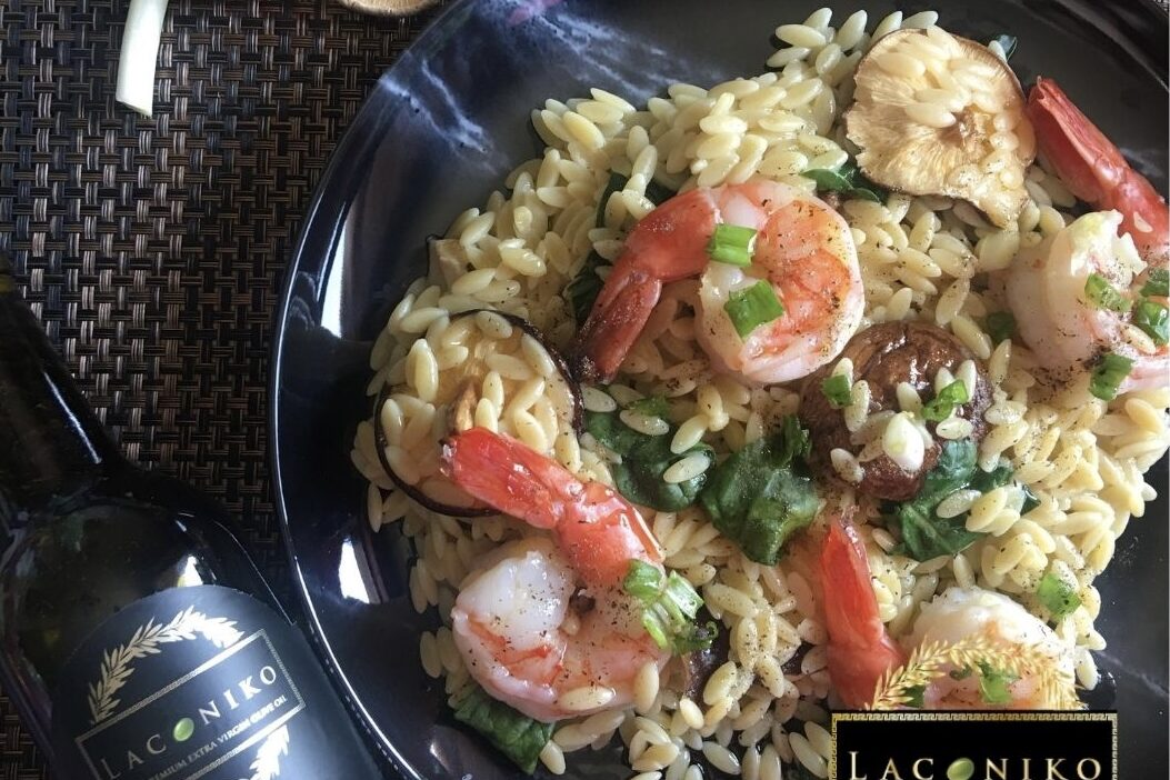 Grilled Shrimp and orzo with Garlic EVOO